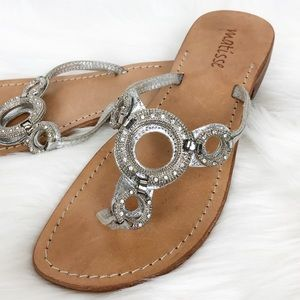 Matisse Silver Jeweled Bling Thong Slip On Sandals